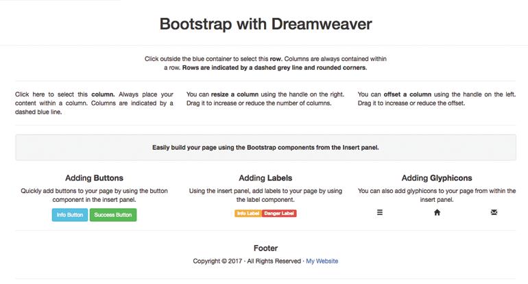 Exemplu Bootstrap Dreamweaver