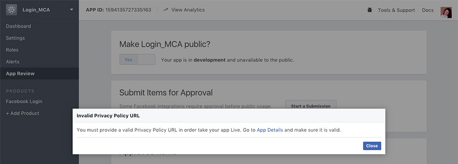 Privacy Policy Facebook web app