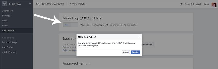 Confirmare activare Facebook Web App