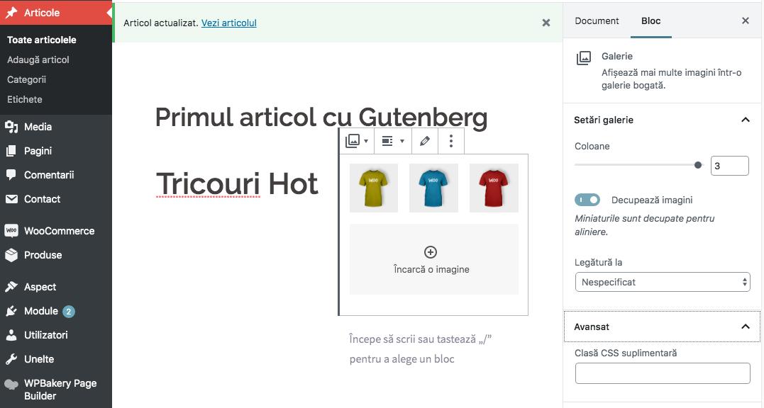 Optiuni bloc in Gutenberg WordPress